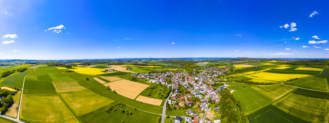 Aerial view of rape fields and cornfields near Usingen and Schwalbach, Hesse, Germany - AMF07049