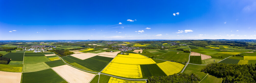 Aerial view of rape fields and cornfields near Usingen and Schwalbach, Hesse, Germany - AMF07055