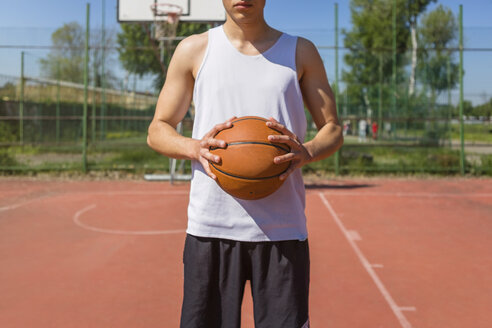 Young man holding basketball - MGIF00487