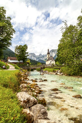Parish church of St Sebastian with Reiteralpe mountain in the background, Ramsau, Germany - PUF01572