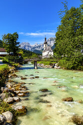 Parish church of St Sebastian with Reiteralpe mountain in the background, Ramsau, Germany - PUF01578