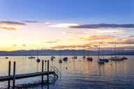 Harbour with sailing boats at sunset, Lake Constance, Wasserburg, Germany - PUF01589