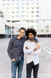 Portrait of two confident businessmen in the city, Barcelona, Spain - AFVF03087