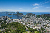 Outlook from the Christ the Redeemer statue over Rio de Janeiro with Sugarloaf Mountain, Brazil - RUNF02375