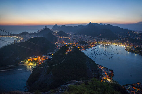 View from the Sugarloaf at sunset, Rio de Janeiro, Brazil - RUNF02390