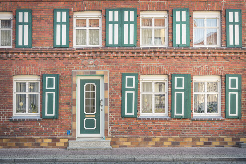 Front of a restored house, Wittenberge, Brandenburg, Germany - KEBF01224