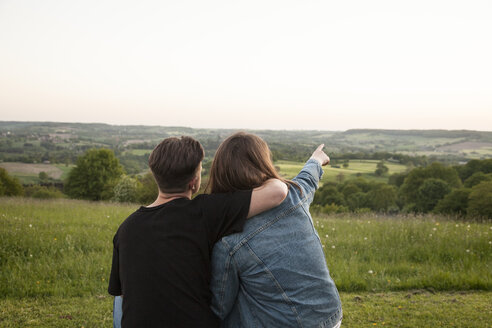 Back view of happy young lovers in nature looking at view - ANHF00121