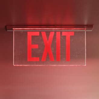 Red Exit Sign on Ceiling - MINF11212
