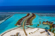 Aerial view of water bungalows, South Male Atoll, Maledives - AMF07098