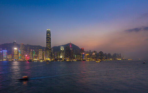 Hong Kong Central skyline and Victoria Harbour at sunset, Hong Kong, China - HSIF00659