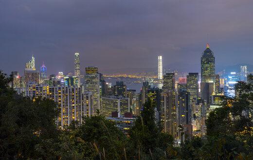 Hong Kong Central skyline and Victoria Harbour at night, Hong Kong, China - HSIF00668