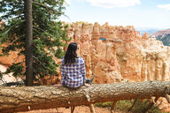 Traveler woman sitting on the trunk of a fallen tree enjoying the view in Bryce Canyon, Utah, USA - GEMF02977