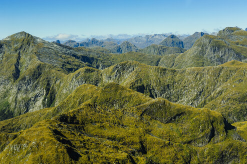 Aerial view of the rugged mountains in Fiordland National Park, South Island, New Zealand - RUNF02441