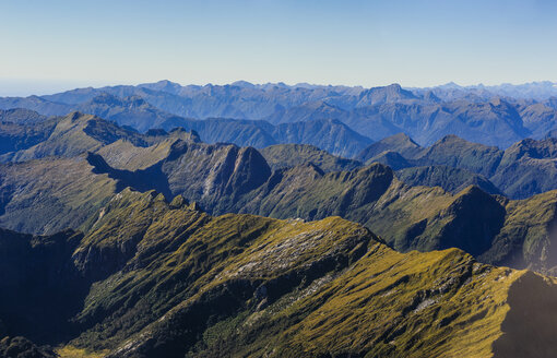 Aerial view of the rugged mountains in Fiordland National Park, South Island, New Zealand - RUNF02444