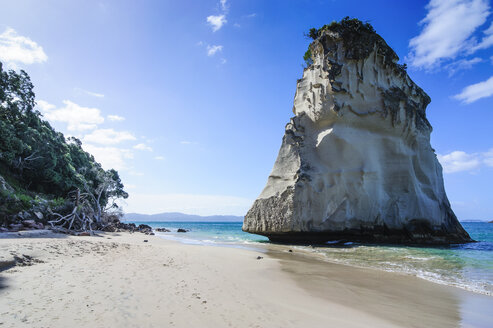 Giant rock on the sandy beach of Cathedral Cove, Coromandel, North Island, New Zealand - RUNF02499