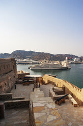 Fort Matrah, view towards harbour, Al Said, private yacht of the Sultanate Oman, Matrah, Muscat, Oman - WWF05101