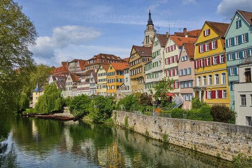 Houses at river Neckar and Hoelderlin tower, Tuebingen, Baden-Wuerttemberg, Germany - MRF02013