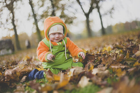 A baby girl playing in the autumn leaves, Hamburg,DE - IHF00098