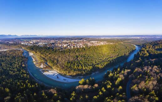 Isar, Naturschutzgebiet Isarauen, Geretsried, Alpenkette, Drohnenaufnahme, Oberbayern, Bayern, Deutschland - SIEF08672