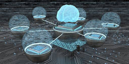 Developent of the artificial intelligence, Human brain with networked microchips, 3D Illustration - ALF00747