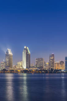 City skyline lit up at night, San Diego, California, United States - MINF11977