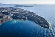 Aerial view of rocky rural coastline, Thira, Egeo, Greece - MINF12037