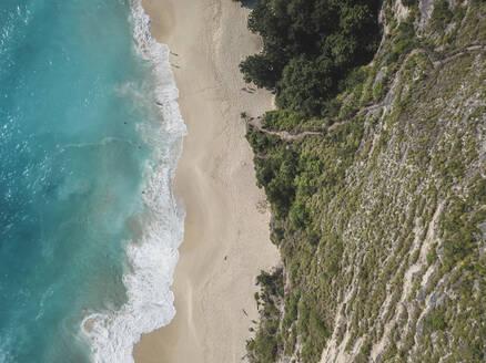 Aerial view of Kelingking Beach, Nusa Penida island, Bali, Indonesia - KNTF02804
