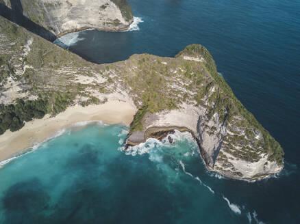 Aerial view of Kelingking Beach, Nusa Penida island, Bali, Indonesia - KNTF02807