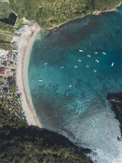 Aerial view of Crystal Bay, Nusa Penida Island, Bali, Indonesia - KNTF02828