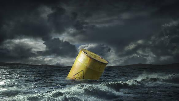 Oil barrel floating in stormy sea - BLEF06721