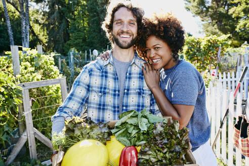 Couple harvesting vegetables in garden - BLEF06787