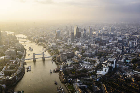 Aerial view of London cityscape and river, England - MINF12359