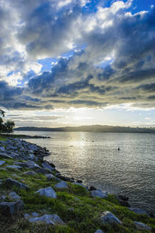 Late afternoon light at sunset over the shore of Lake Taupo, North Island, New Zealand - RUNF02701