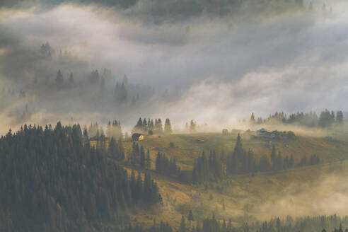 A foggy village in the Carpathian Mountains, Ukraine - IHF00123