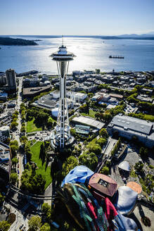 Aerial view of Space Needle in Seattle cityscape, Washington, United States - MINF12506