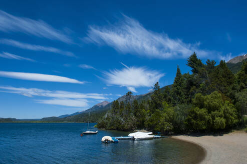 Beach of a mountain lake in Los Alerces National Park, Chubut, Argentina, South America - RUNF02723