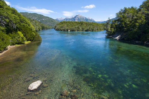 Crystal clear water in the Los Alerces National Park, Chubut, , Argentina, South America - RUNF02726