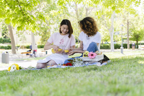 Two happy women having a picnic in park - FMOF00705