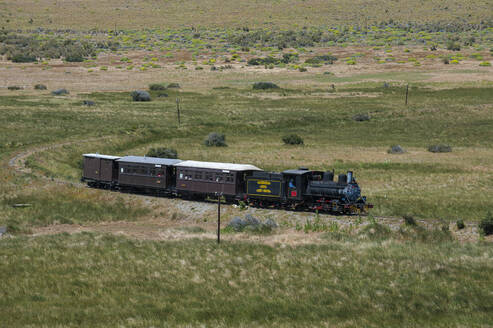 La Trochita narrow gauge railway between Esquel and El Maiten in Chubut Province, Argentina, South America - RUN02809