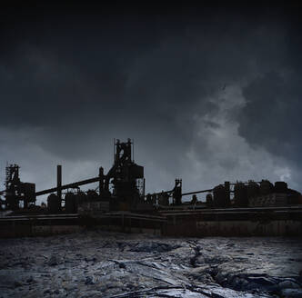 Silhouette of factories against stormy sky, Detroit, Michigan, United States - BLEF07385