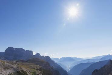 View to Auronzo di Cadore and Lago di Santa Caterina, Tre Cime di Lavaredo Area, Nature Park Tre Cime, Unesco World Heritage Natural Site, Sexten Dolomites, Italy - GWF06104