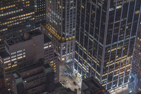 Skyscrapers and street canyon at night, Manhattan, New York City, USA - MMAF01035