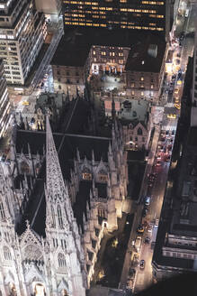 Top view of street and  St. Patrick's Cathedral at night, Manhattan, New York City, USA - MMAF01041