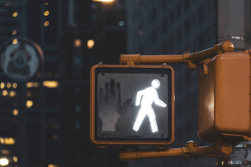 Pedestrian light at night, Manhattan, New York City, USA - MMAF01047