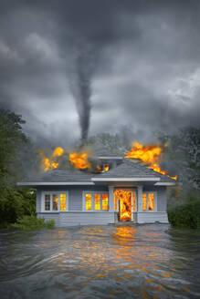 Burning house under tornado in flooded landscape - BLEF07411