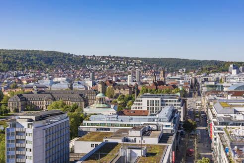 Deutschland, Baden-Württemberg, Stuttgart, Stadtzentrum, Innenstadt, Königstraße, Skyline - WDF05277