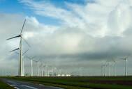 Wind turbines around the Delfzijl harbour area, Delfzijl, Groningen, Netherlands - CUF51577