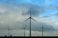 Wind turbines around the Delfzijl harbour area, Delfzijl, Groningen, Netherlands - CUF51580