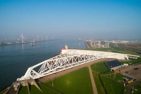 Maeslantkering, a storm surge barrier part of Deltwerken, a series of dams and barriers that protect the Netherlands from the sea, Maasdijk-Heenweg, Zuid-Holland - CUF51601