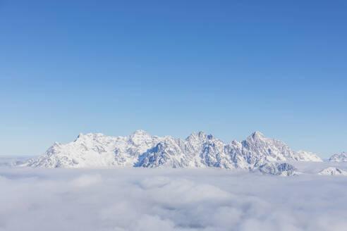 View over snowy mountains at sunshine, Saalbach Hinterglemm, Pinzgau, Austria - MMAF01063